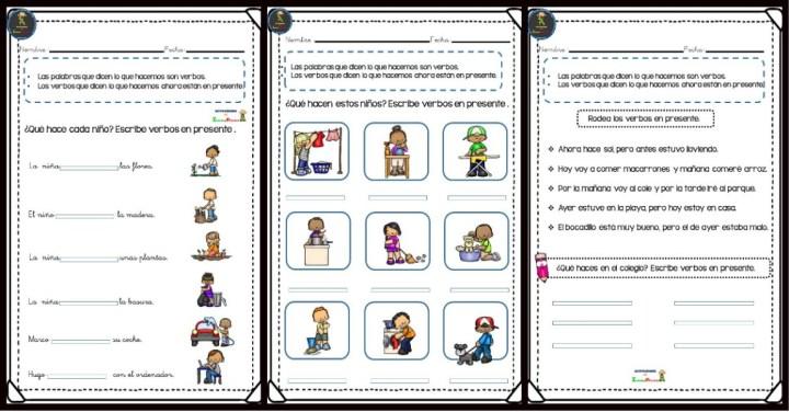 Colección de fichas para trabajar los verbos en primaria