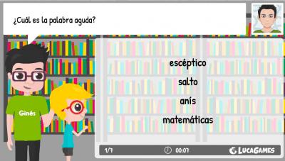 Colección de juegos on line interactivos para trabajar la acentuación de palabras