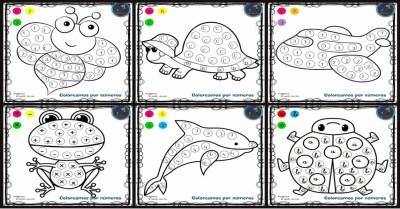 Fichas para colorear por letras, números y símbolos