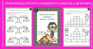 Matemáticas para primaria completamos balanzas y pirámides