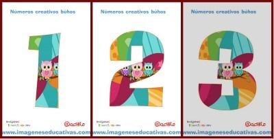 Números creativos. Motivo Búhos