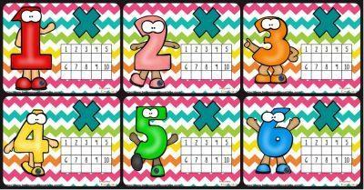 Tarjetas para practicar las tablas de multiplicar.